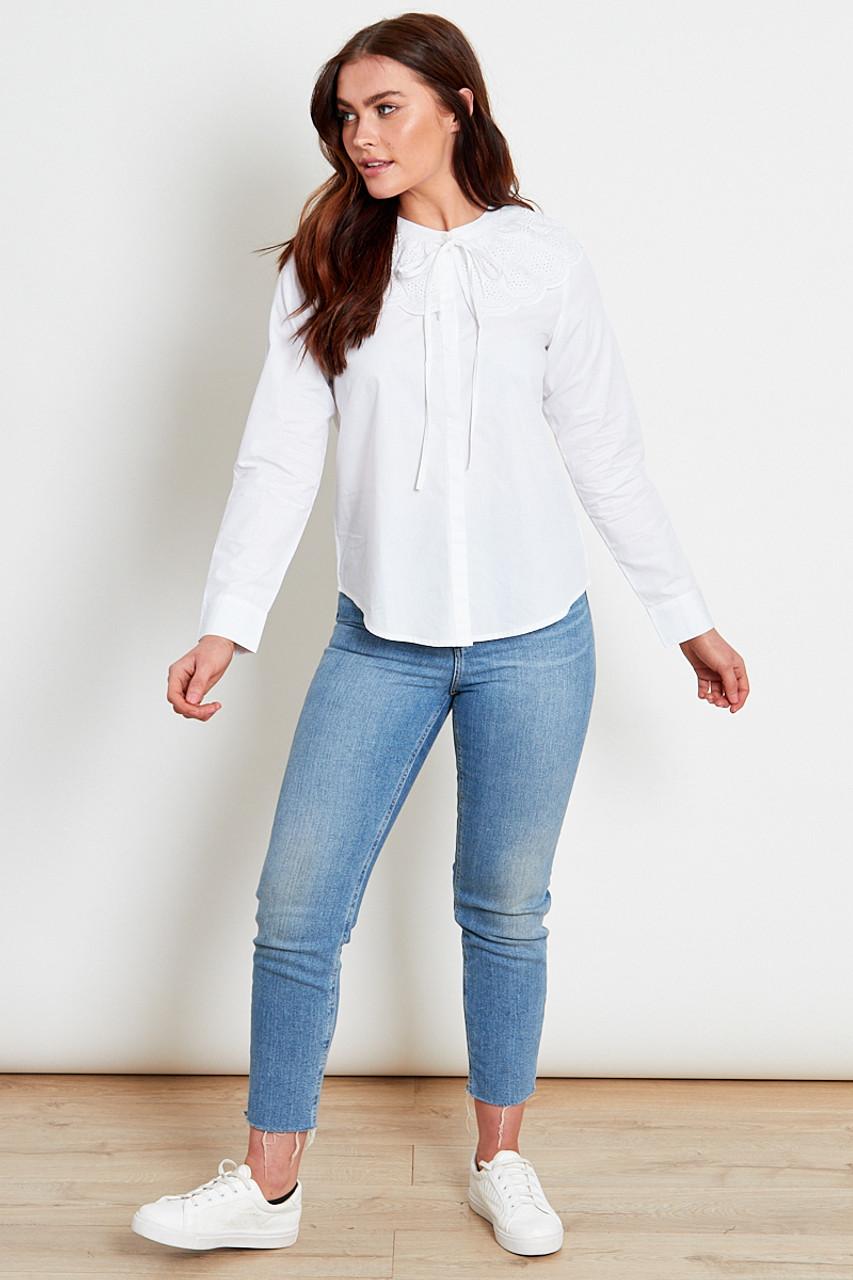 White Cotton Poplin Collar Shirt