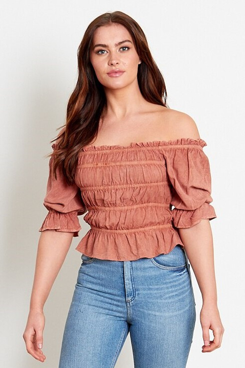 Rust Ruched Bardot Top