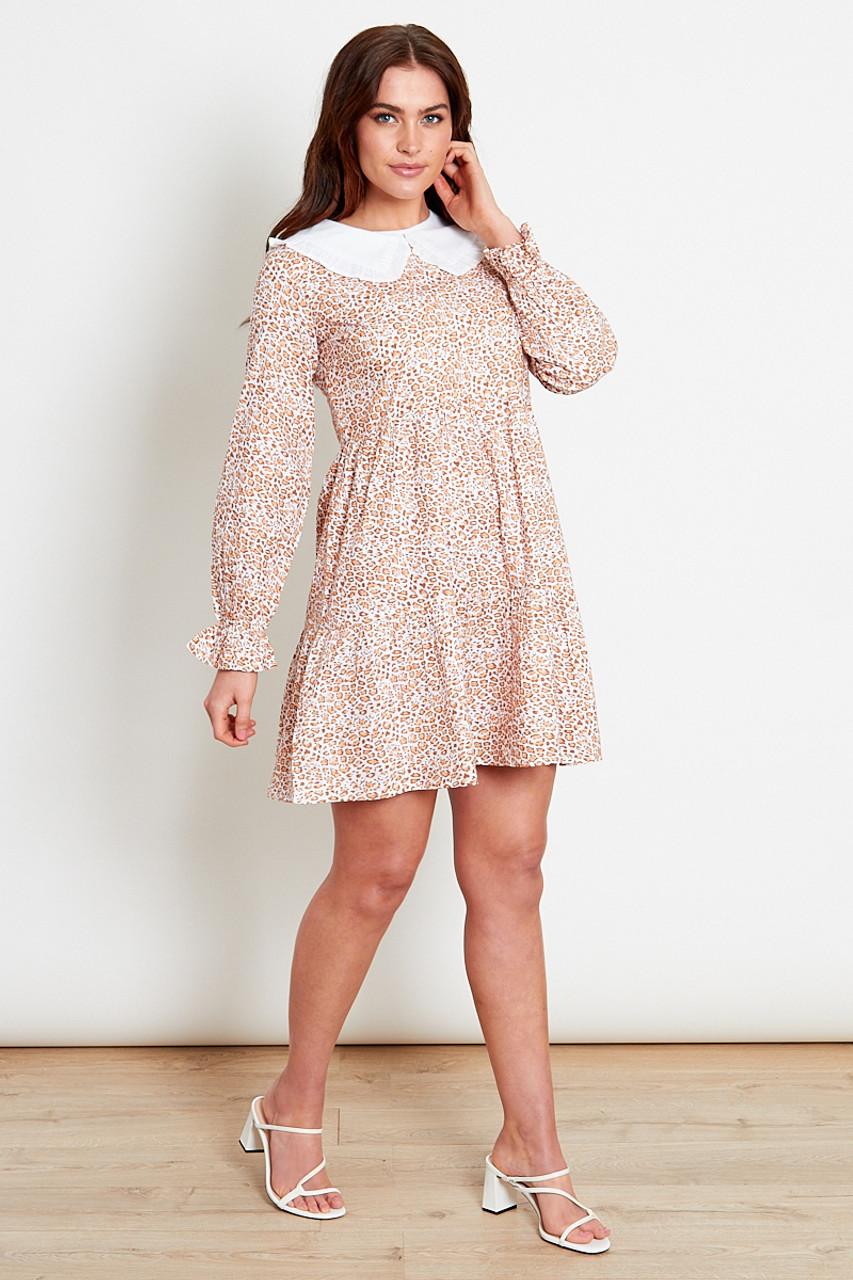 Animal Print Collar Cotton Mini Dress
