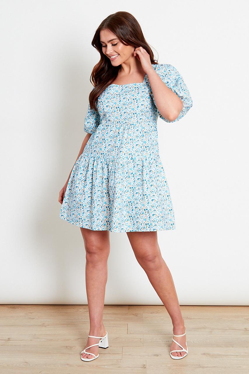 Blue Ditsy Cotton Square Neck Mini Dress