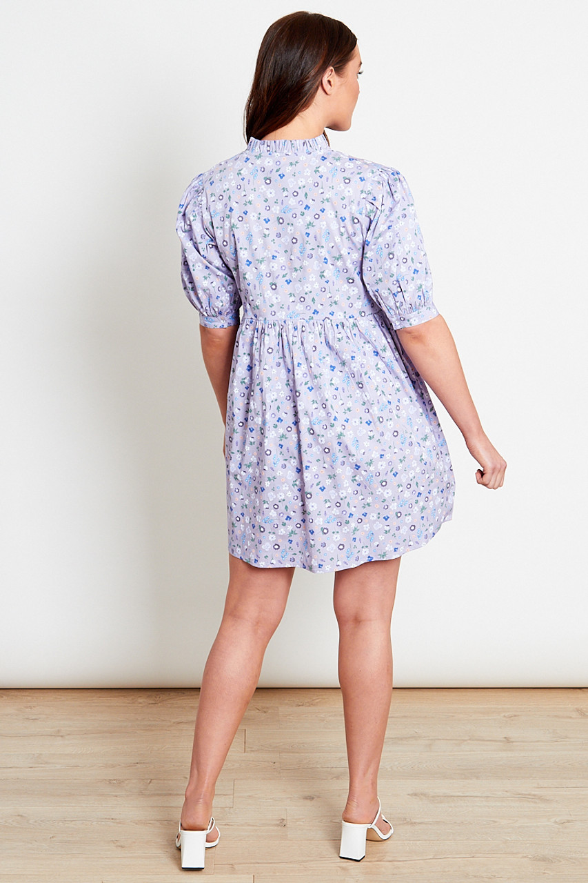 Lilac Ditsy Cotton Smock Mini Dress