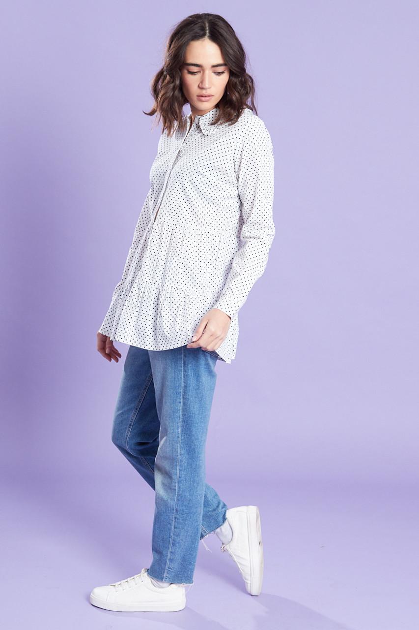 White With Black Spot Poplin Shirt