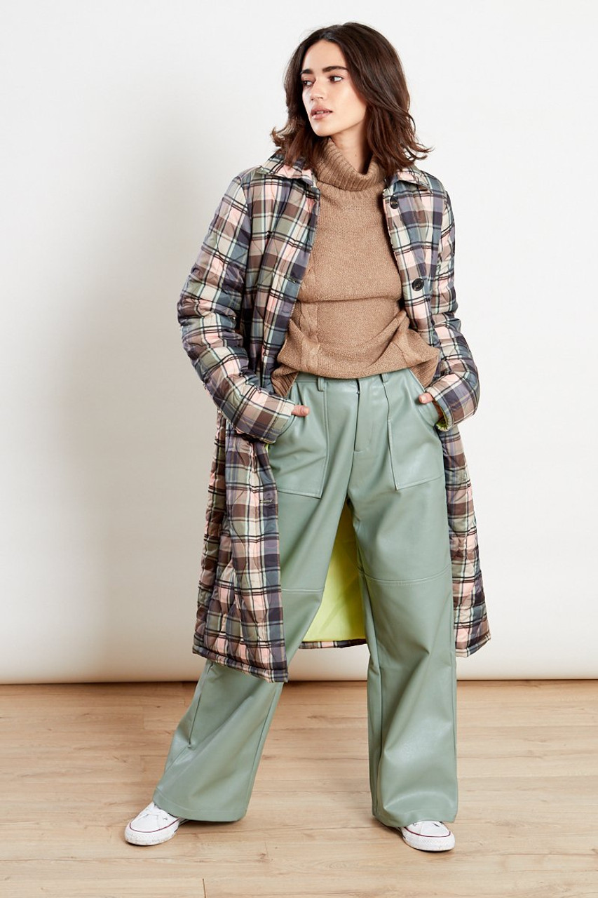 Checked Quilted Coat Multi