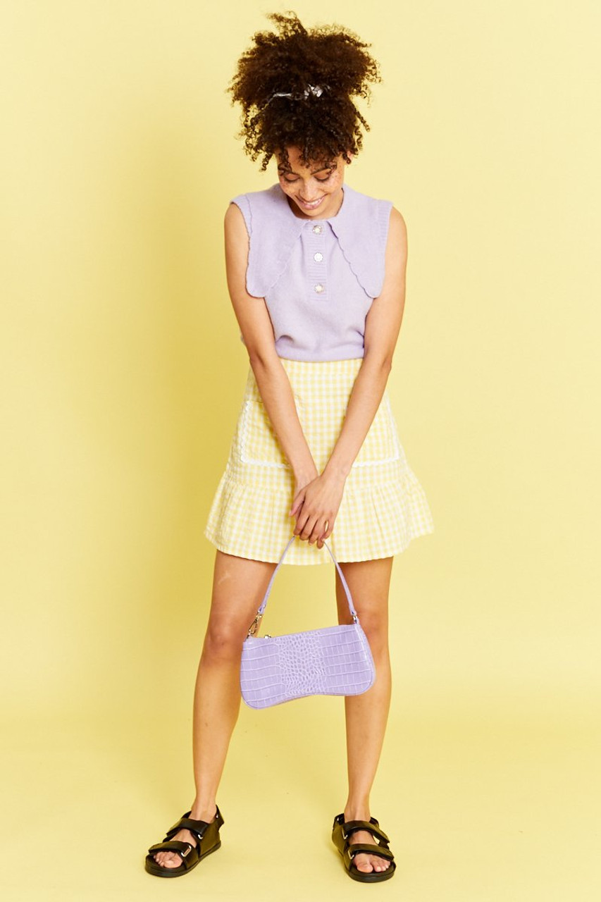 Sweater vest with Oversized Frill Collar - Lilac