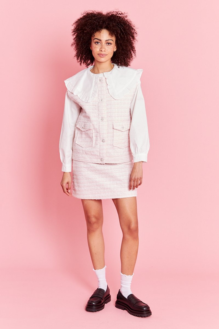 Boucle A Line Skirt - Pink