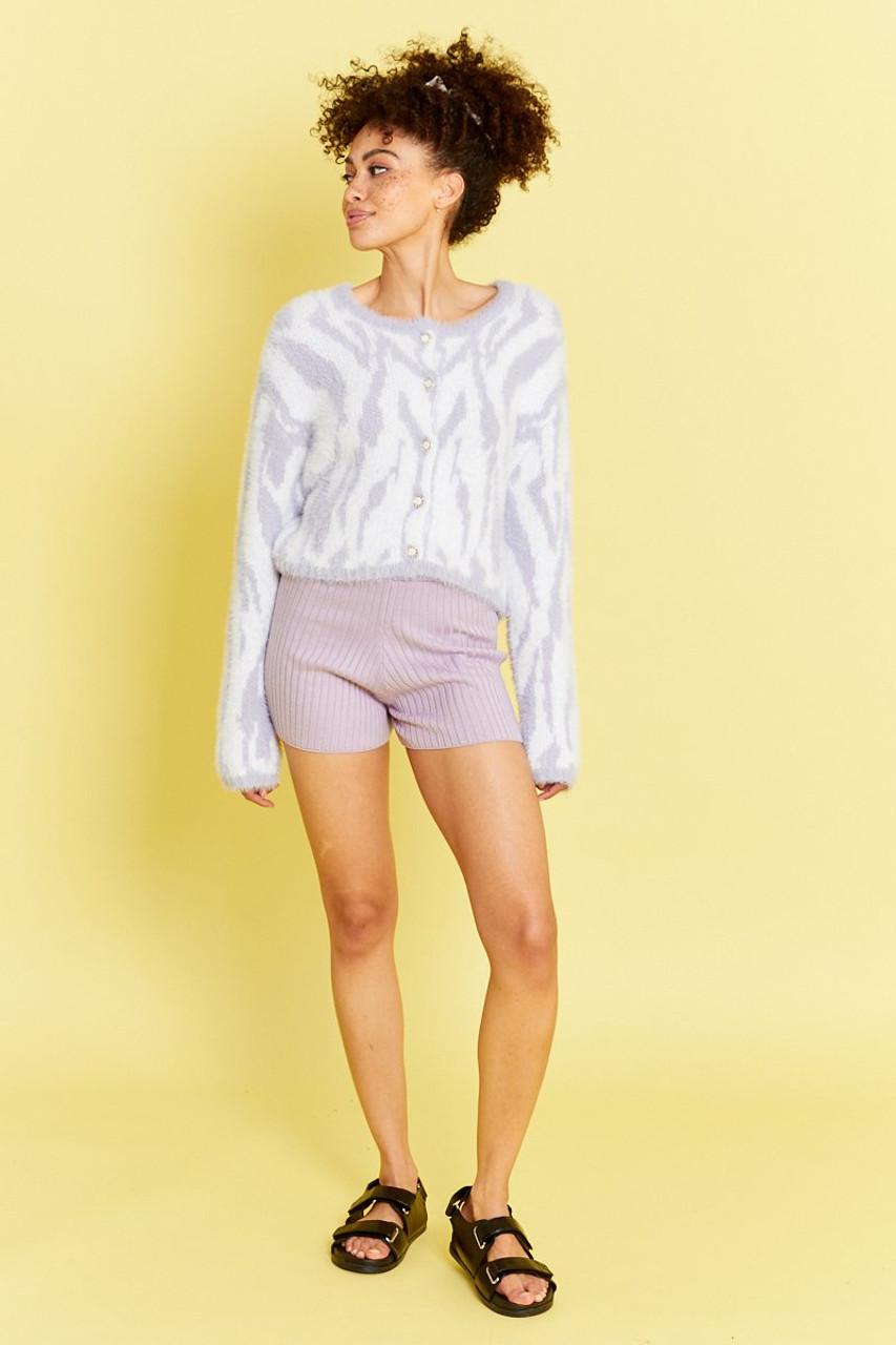 Fluffy Zebra Cardigan - Lilac