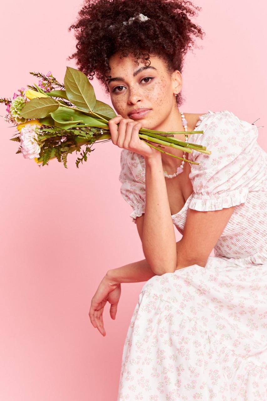 Eleanora Ditsy Floral Midaxi Dress - Cream