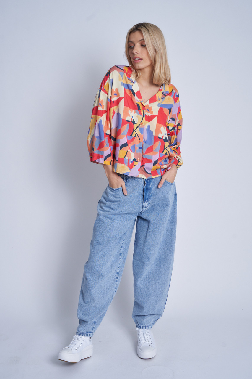 Mimosa Print Loose Fit Button Down Blouse With Relaxed Collar