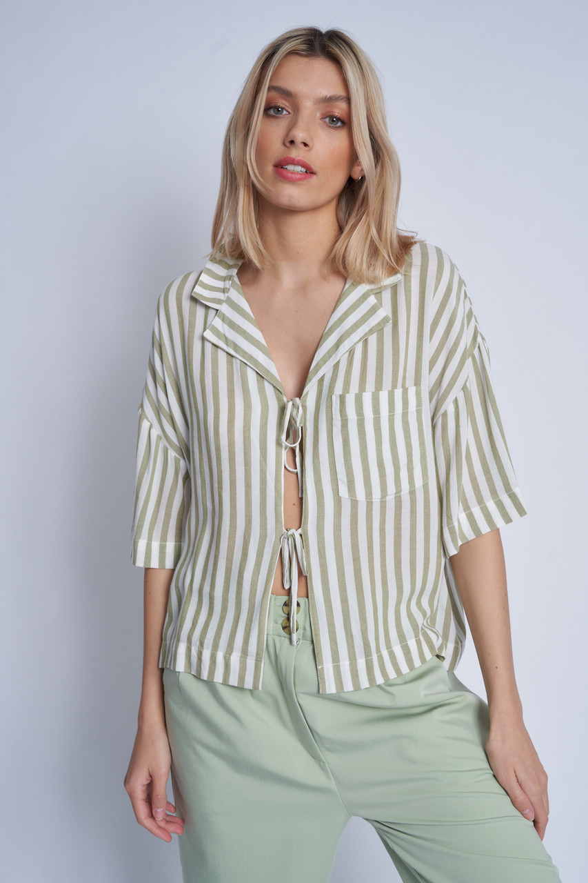 Short Sleeve Blouse With Self Fabric Ties At Front