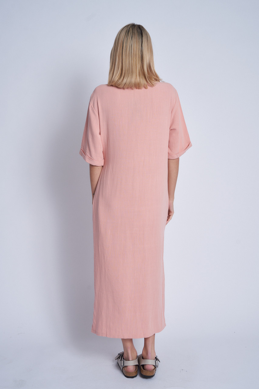 Loose Fit Button Down Maxi Dress In Natural Cotton