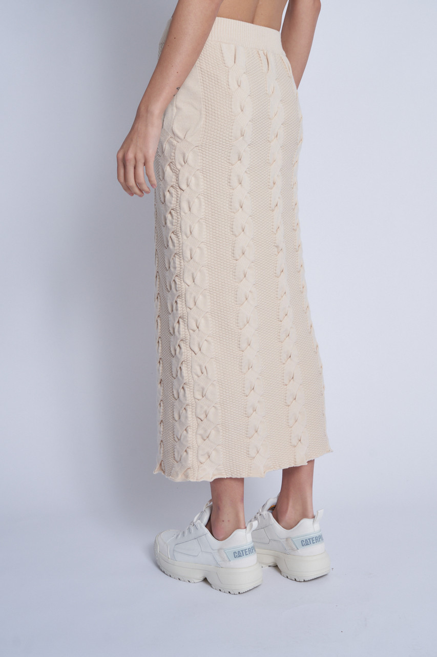 Stone Luxe Knitted Casual Skirt With Elasticated Waistband In Cable Stitch