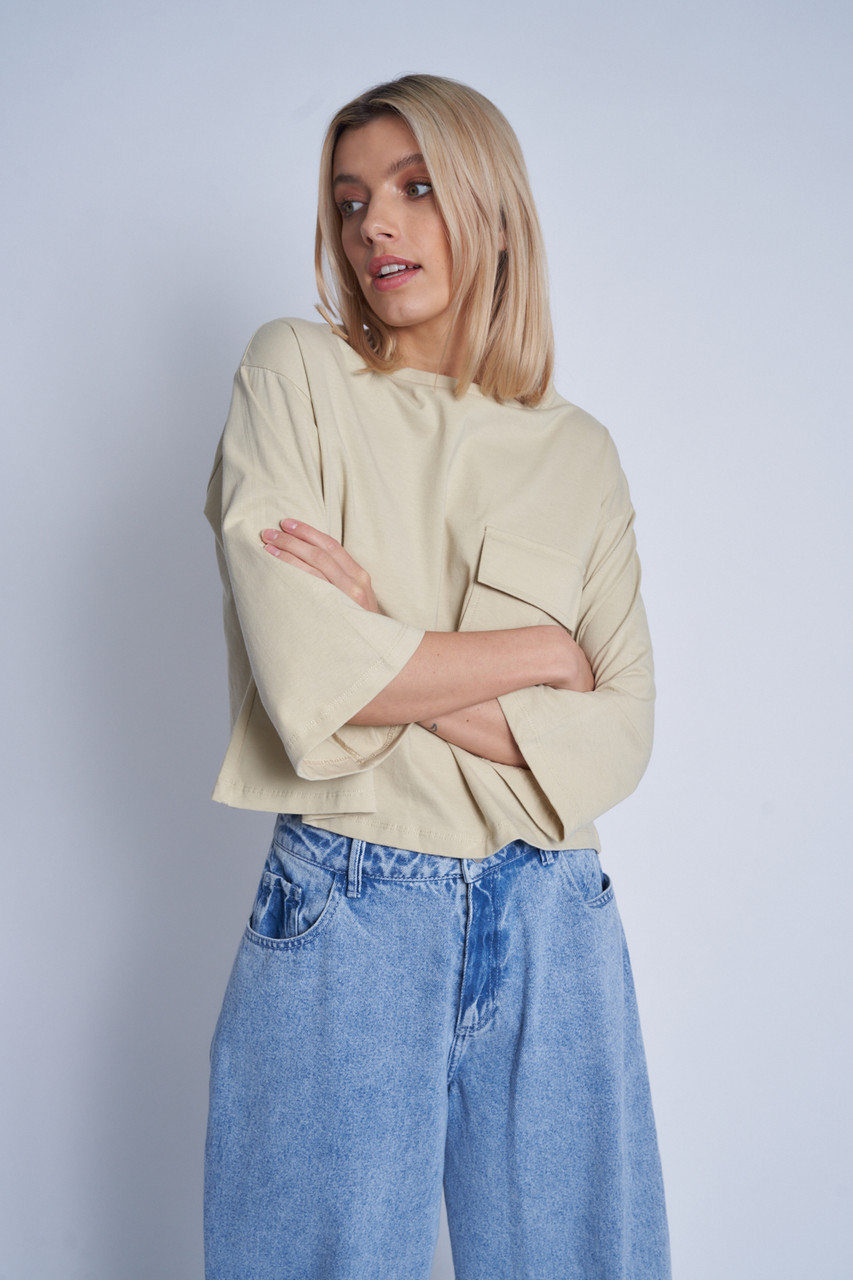 Stone Cropped T-Shirt With Patch Pocket And Contrast Stitch Colour
