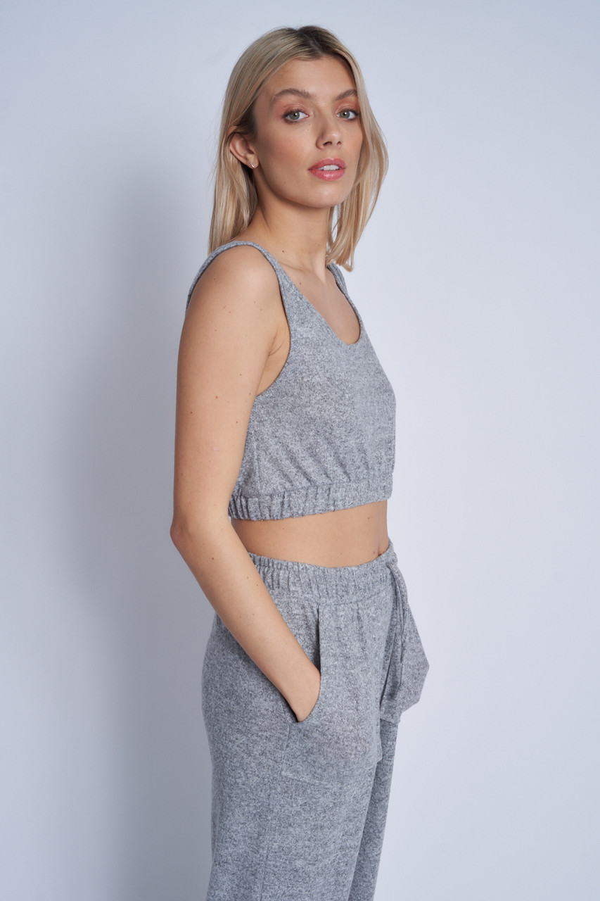 Soft Touch Jersey Cropped Sleeveless Top With Elasticated Waist