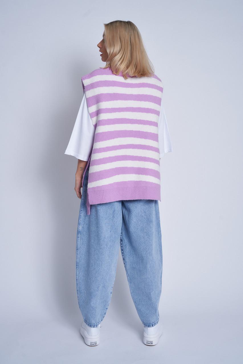 Oversized Split Side Sweater Vest In Irregular Contrast Stripe
