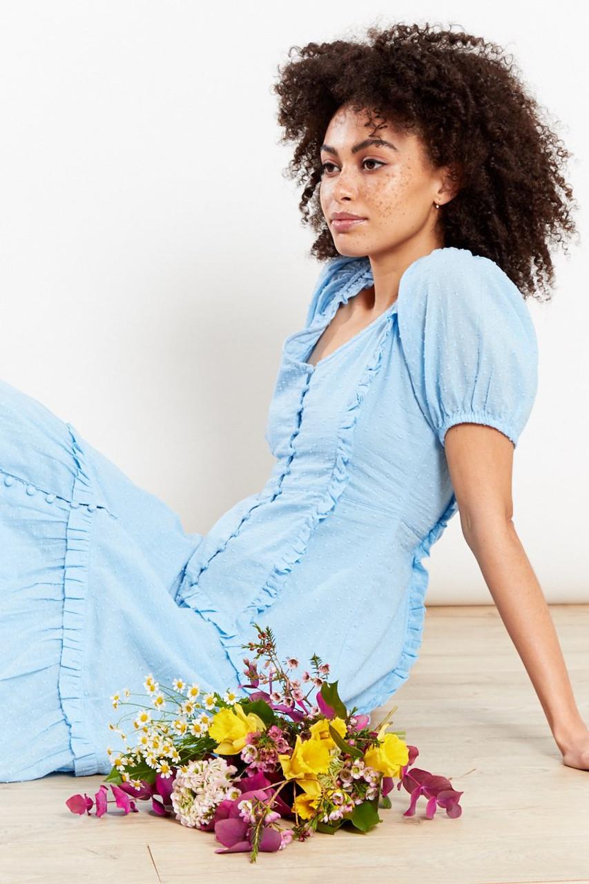 Button Front Ruffle Dobby Midi Dress - Blue