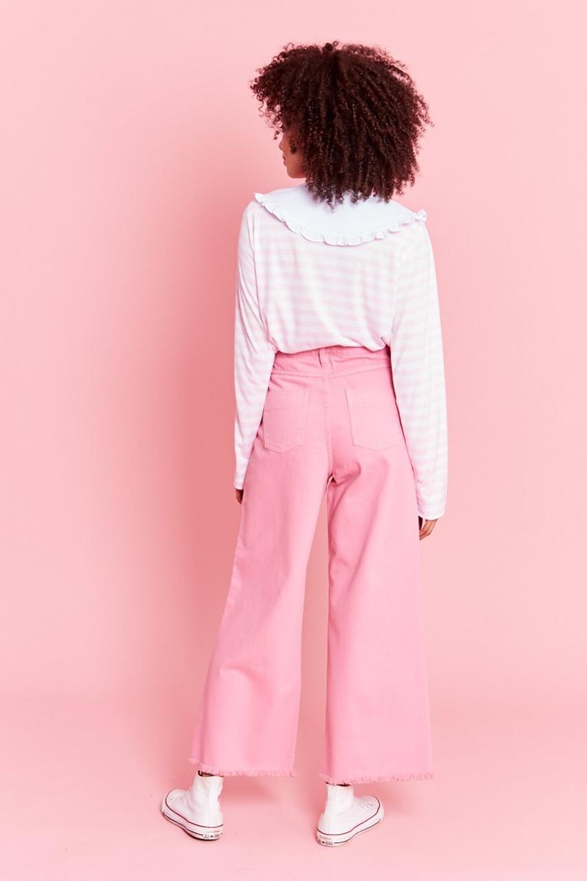 Raw Edge Wide Leg Jeans - Pink
