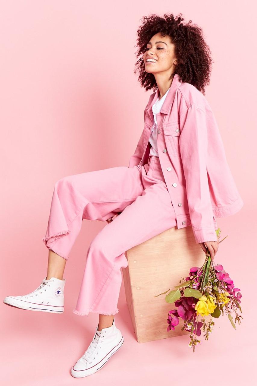 Oversized Denim Jacket - Pink