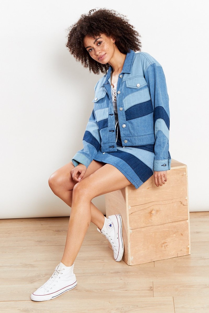 Tonal Patchwork Denim Mini Skirt - Blue