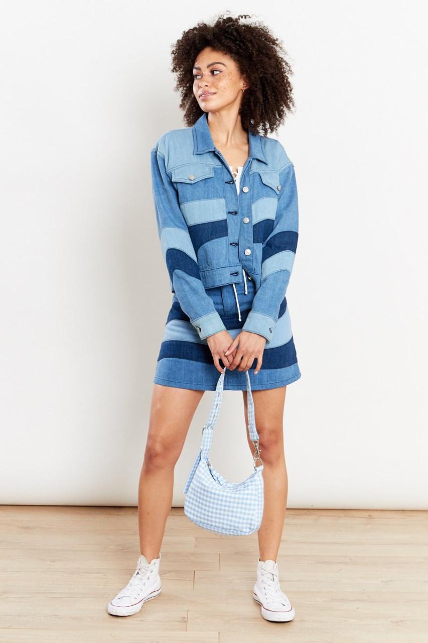 Tonal Patchwork Denim Jacket - Blue