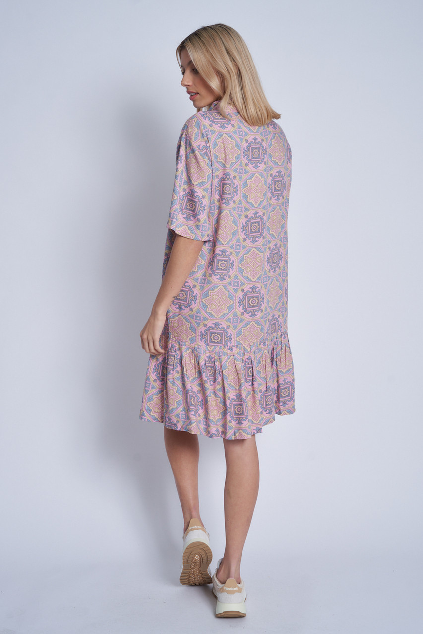 Multi Colour Paisley Print Swing Dress With Button Down Front And Peplum Frill