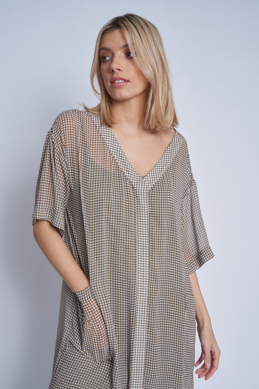 Oversized Maxi Length Dress With Concealed Button Down Front In Micro Gingham