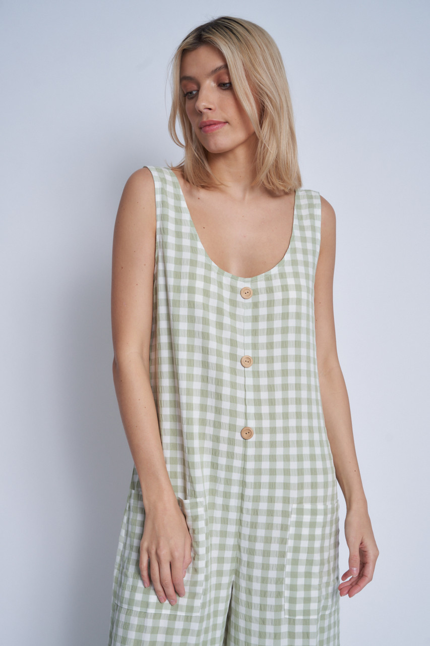 Textured Gingham Loose Fit Slouchy Jumpsuit With Patch Pocket Detail
