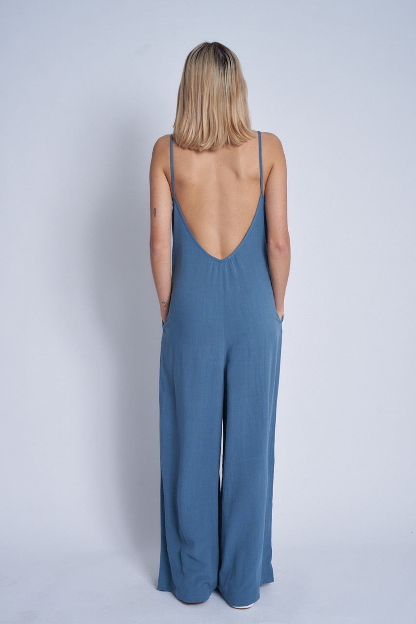 Loose Fit Strappy Jumpsuit In Natural Cotton