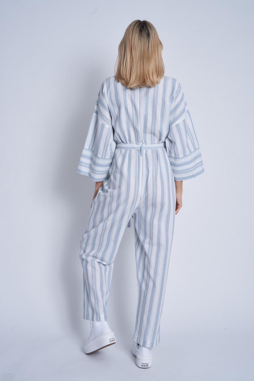 Linen Mix Striped Kimono Sleeve Jumpsuit