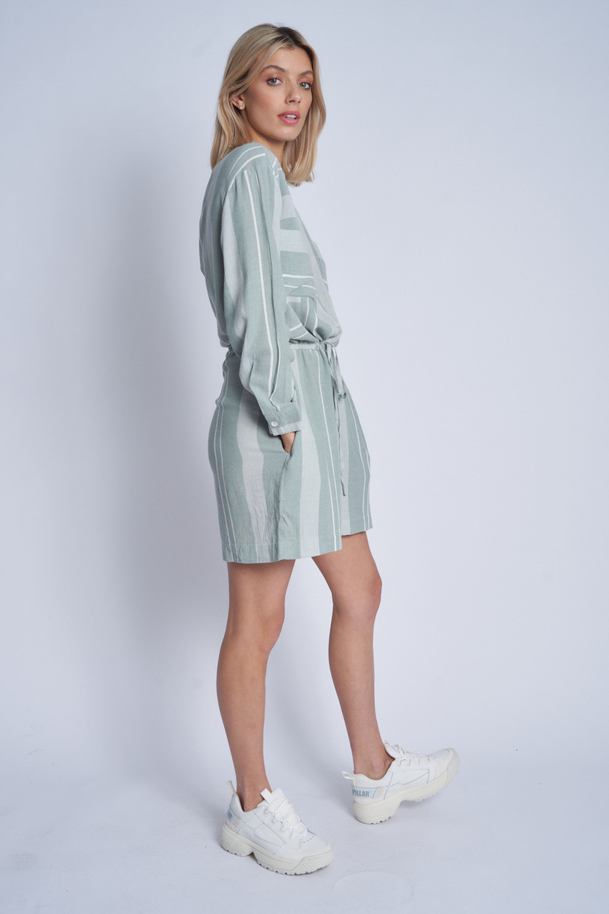 Soft Tailored Playsuit In Jacquard Stripes