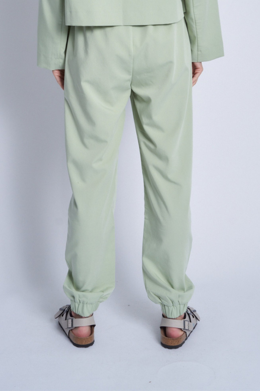 Green Green Soft Tailored Formal Jogger With Double Button Fastening At Waistband