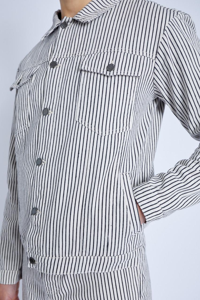 Denim Trucker Jacket In Hickory Stripe