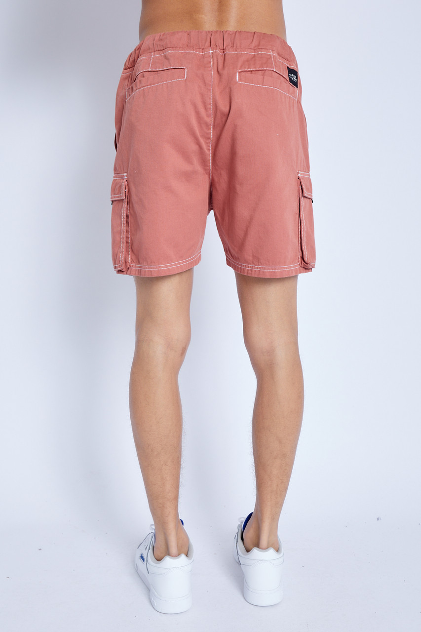 Shorts In Washed Cotton With Intergrated Belt