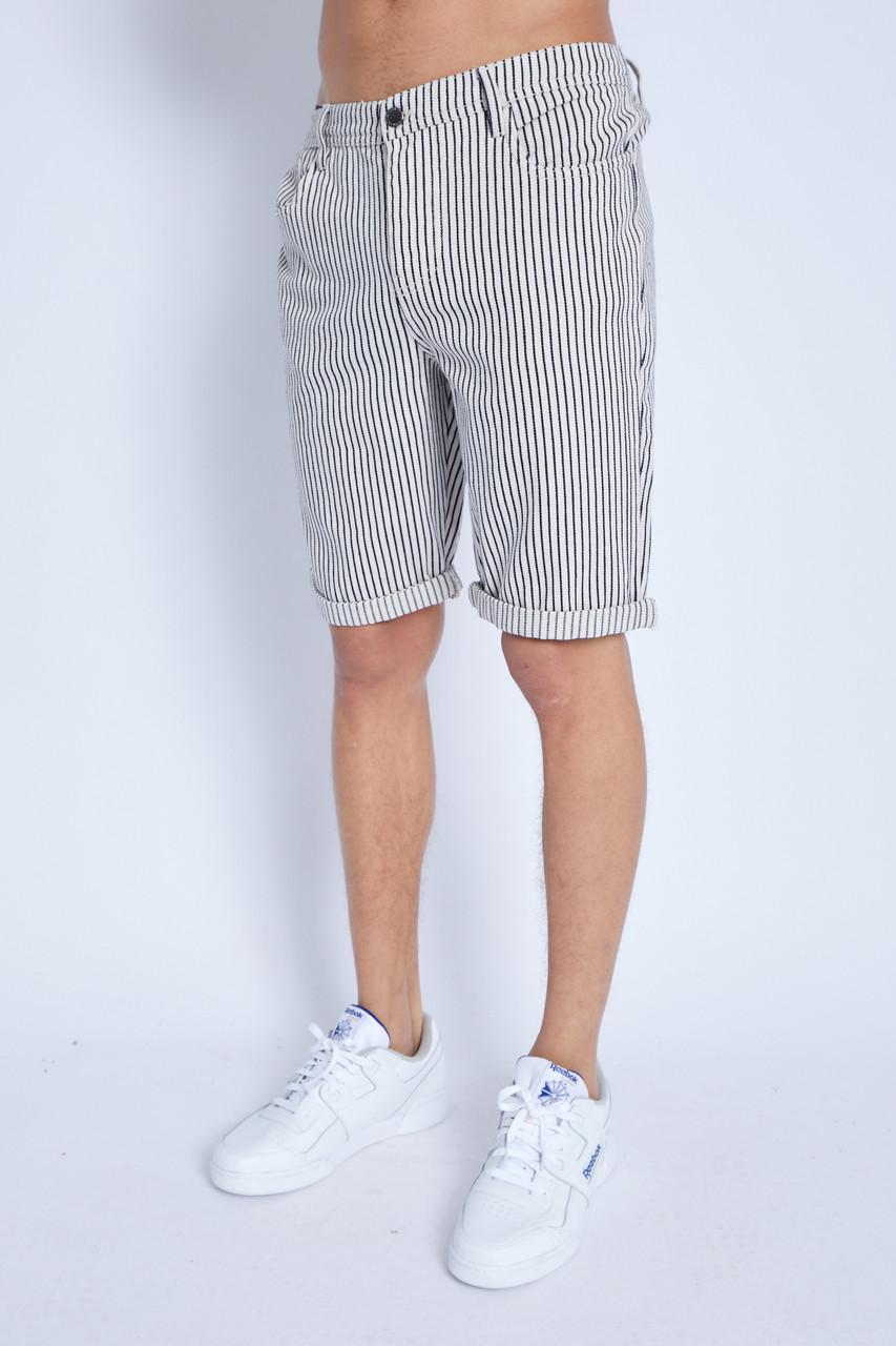 Denim Shorts In Hickory Stripe