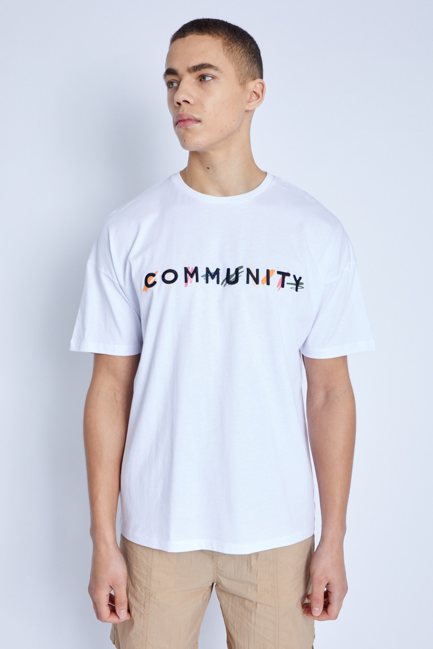 S/S T-Shirt With Community Embroidered Graphic