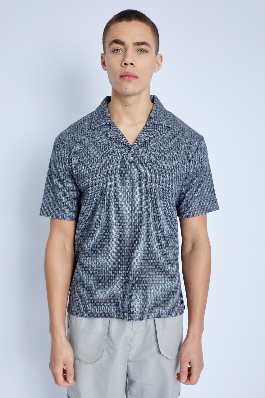 Jacquard Polo Top With Revere Collar