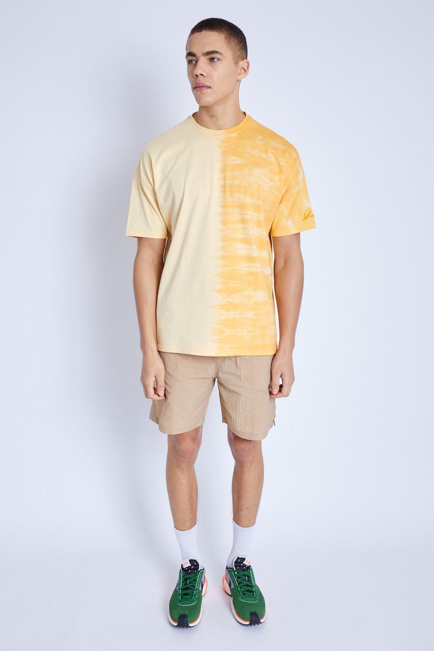 Yellow S/S T-Shirt In Split Tie Dye