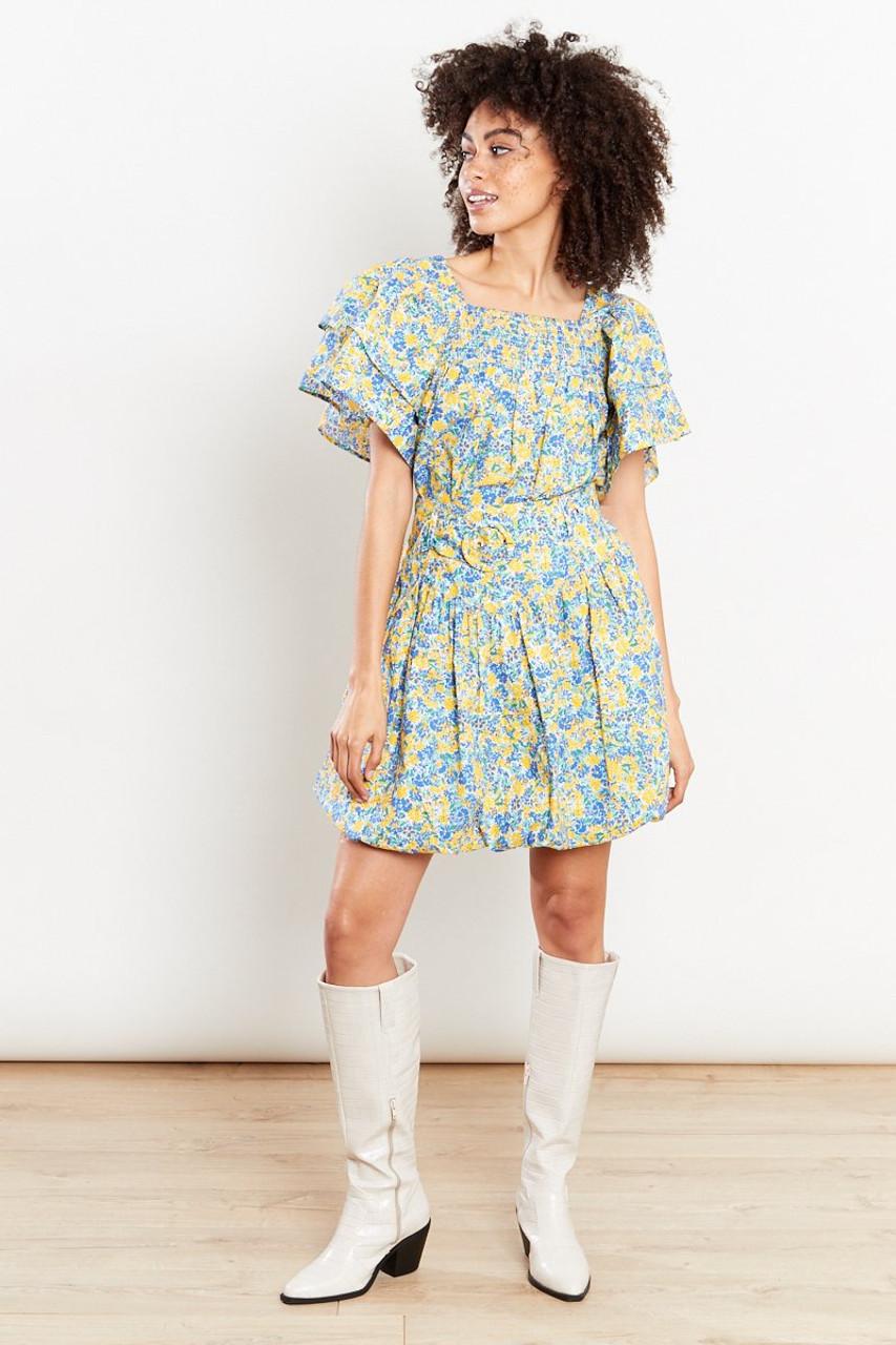 Puffball Belted Ditsy Mini Skirt - Yellow