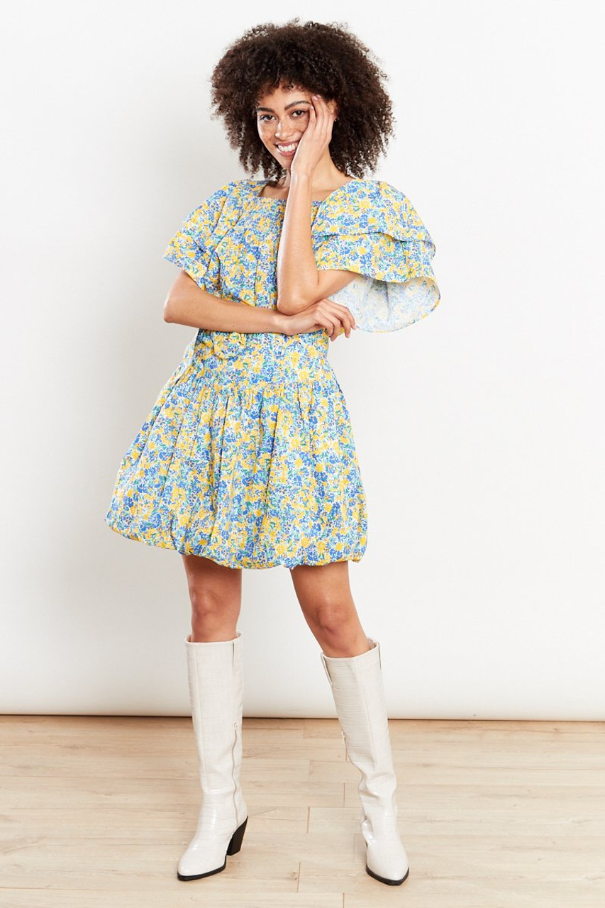 Floral Ruffle Swing Blouse - Yellow