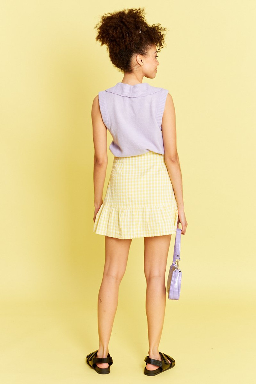 Gingham Peplum Mini Skirt - Yellow