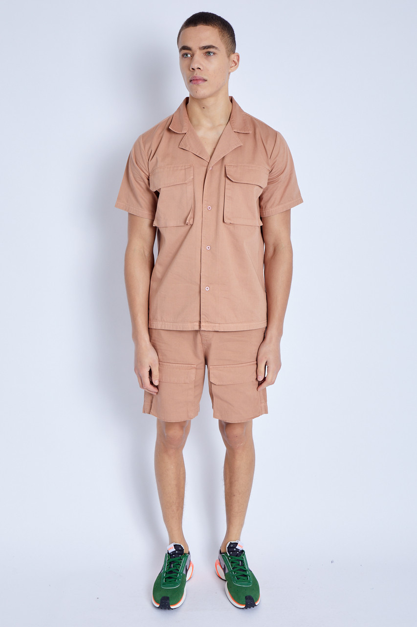 Shorts In Washed Cotton With 3-D Pockets_Stone