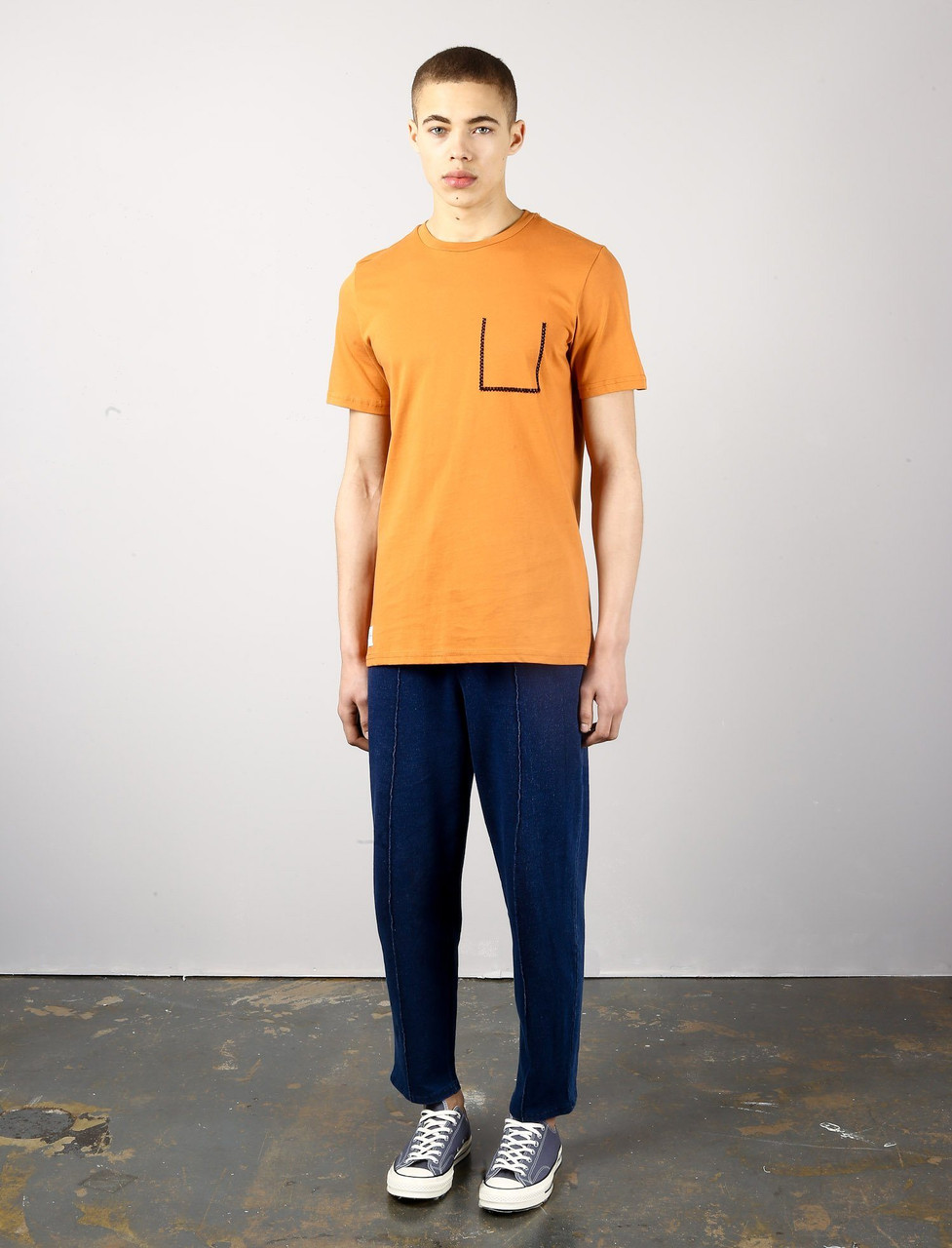 Orange Colourway With A Blank Stitch Mock Pocket