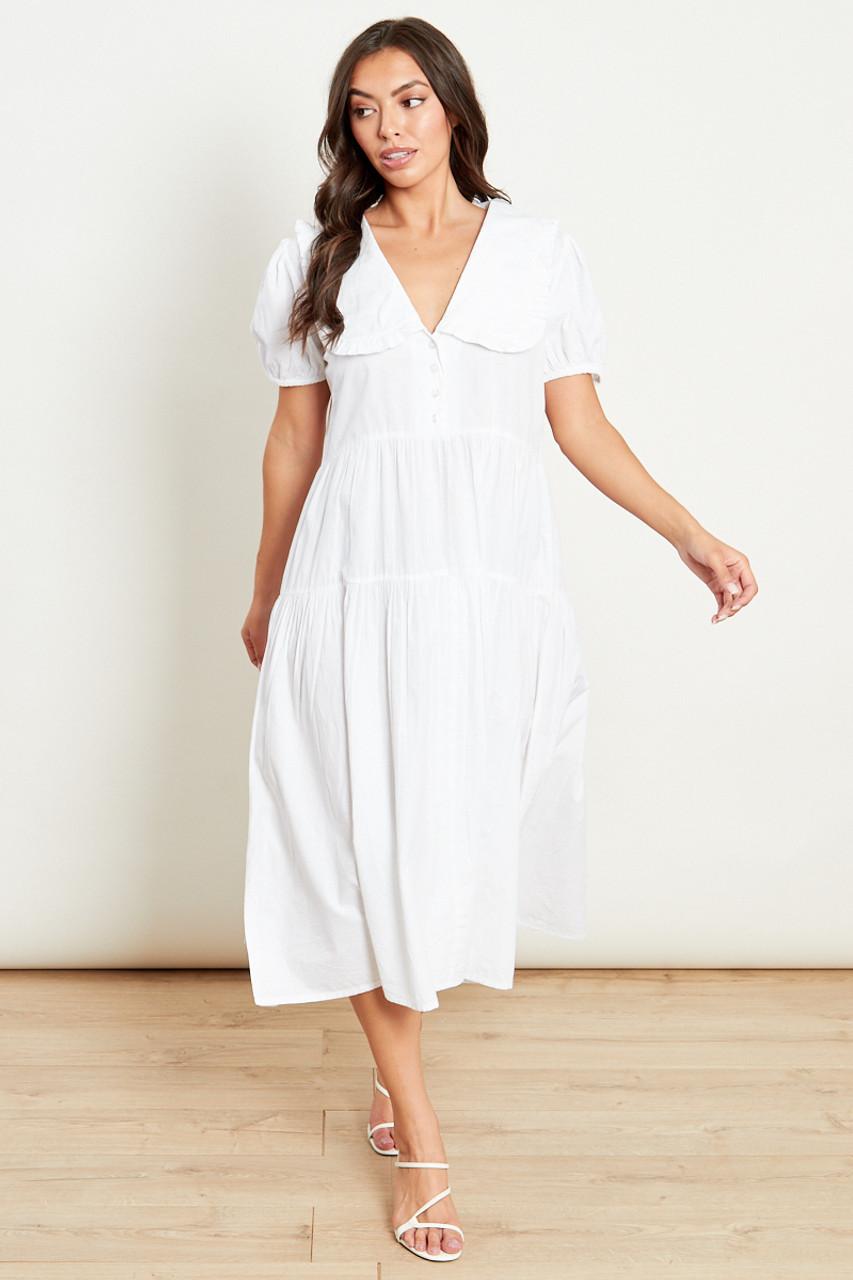 White Peter Pan Collar Tiered Midi Dress
