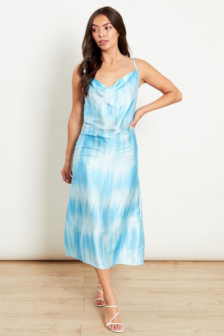Blue Cowl Front Midi Dress