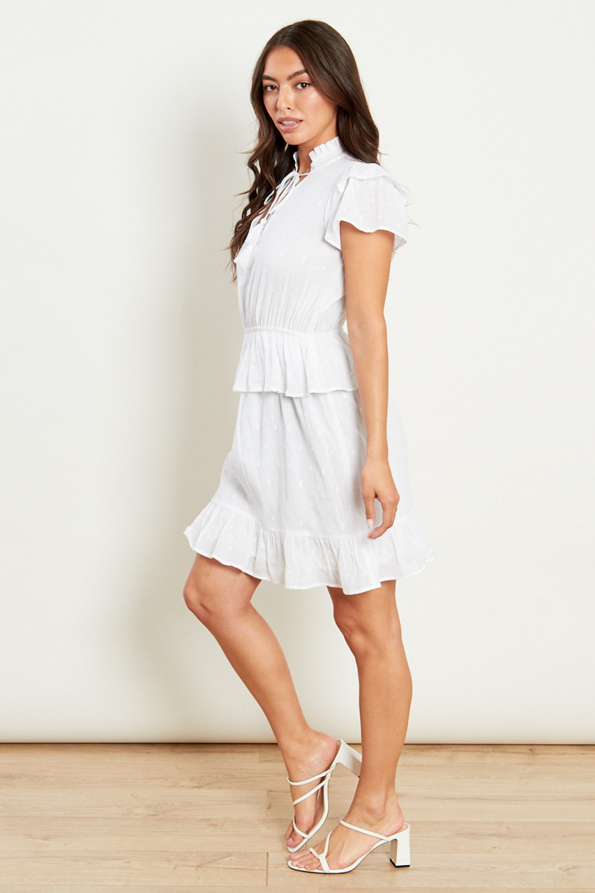 Cotton Dobby Mini Dress With Frill Detailing
