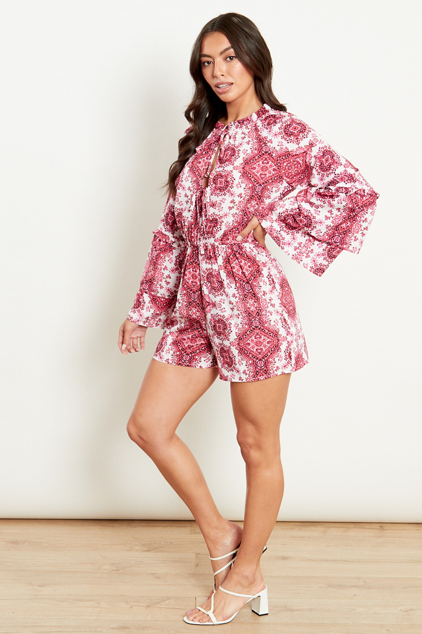 Playsuit With Tiered Sleeves In Cotton Candy Print