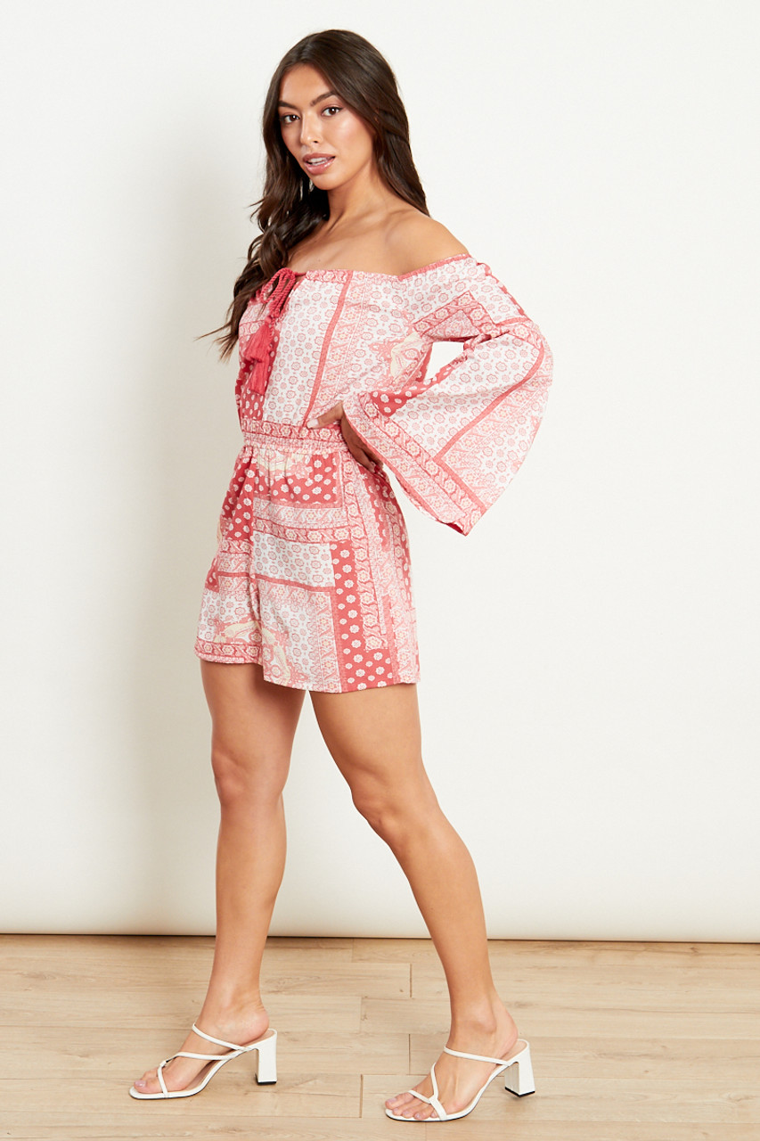 Red Bandana Bardot Playsuit With Full Fluted Sleeves