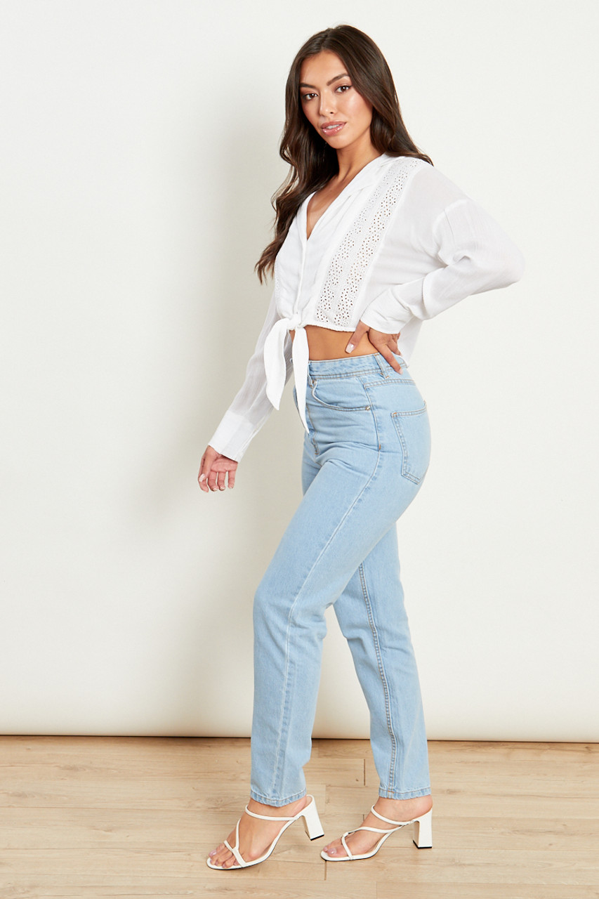 Tie Front Cheesecloth Shirt With Embroidery Detailing