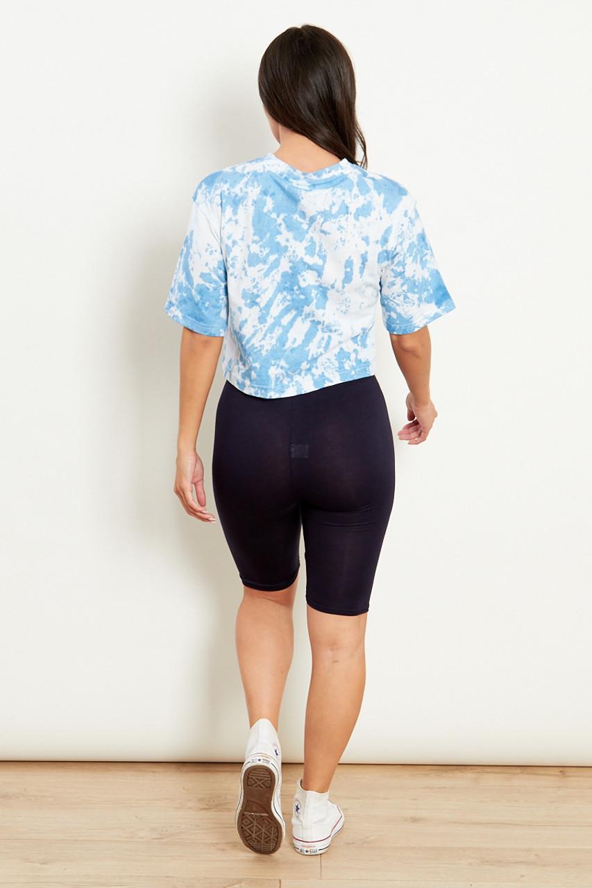 Navy Slinky High Waist Cycling Shorts
