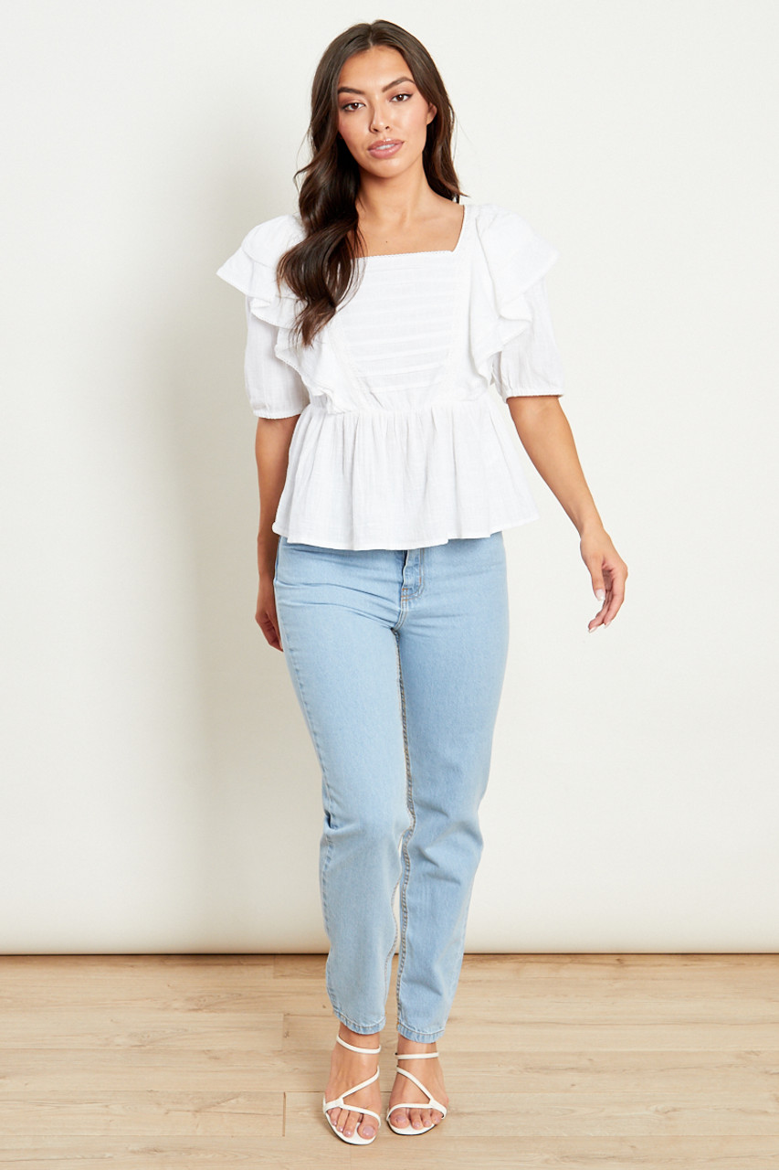 Square Neck Prairie Top With Pin Tucks And Trim Detailing