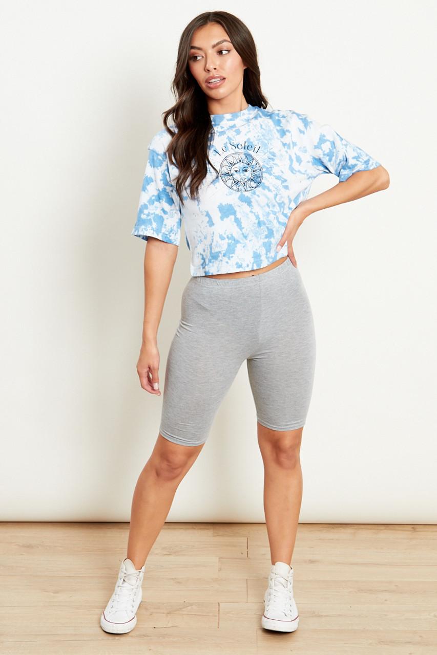 Grey Slinky High Waist Cycling Shorts